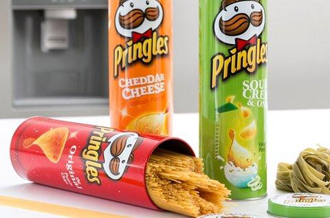 Pringles fémdoboz piros, zöld, narancssárga színben