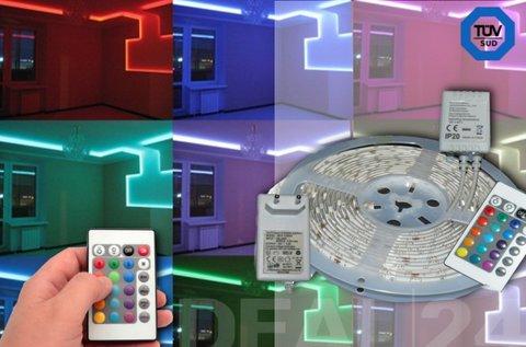 RGB LED szalag szabályozható fényerővel
