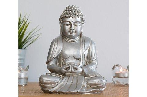 Homania dekoratív ezüstös szürke Buddha