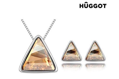 Ródiumozott Triangle Huggot nyakék és fülbevaló