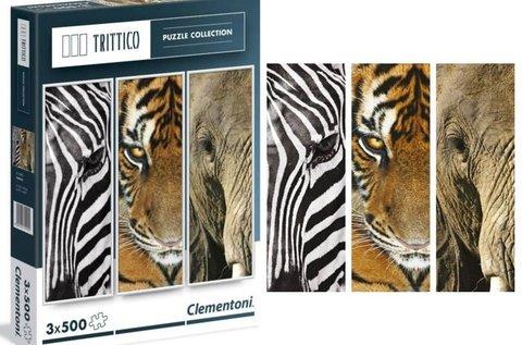 3x500 db-os Clementoni puzzle állatok képeivel