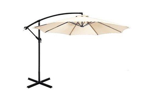 Krém színű függő napernyő állítható dőlésszöggel