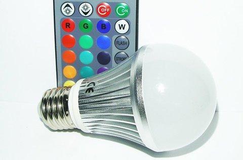 Távirányítós RGB LED égő strapabíró házban