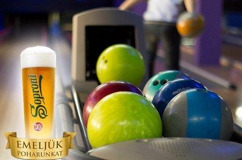 2 óra bowlingozás + csapolt Soproni sör 6 fő részére