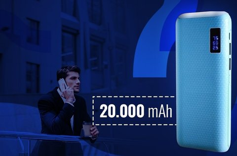20.000 mAh-s powerbank LED lámpával