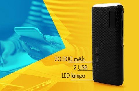 20000 mAh-s külső akkumulátor LED lámpával