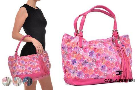 Virágmintás Carla Ferreri Mosaic bőrtáska