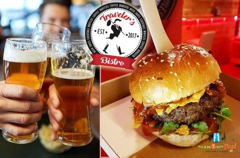 Retro hamburger házi kézműves sörrel