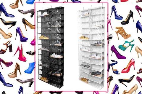 26 rekeszes, ajtóra szerelhető cipőtároló