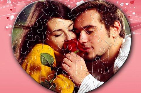50 db-os ötletes, szív alakú puzzle saját fényképpel