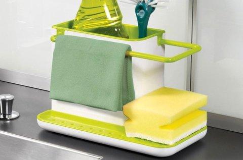 3 az 1-ben mosogató tároló L alakú kialakítással
