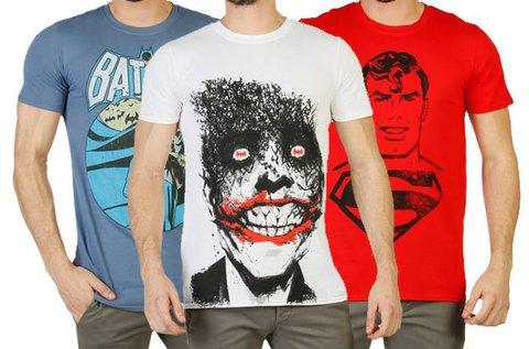 DC Comics rövid ujjú képregénymintás férfi pólók