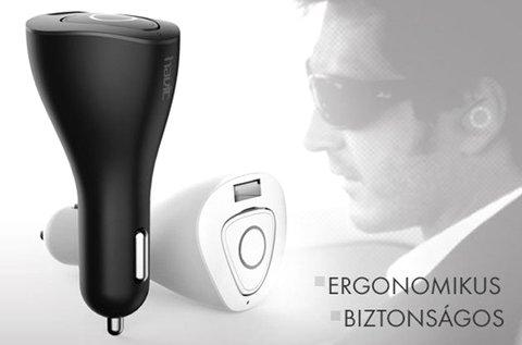 Ergonomikus, bluetooth-os headset autós töltővel