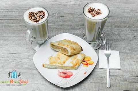 Finom rétes és Cafe Latte, forró csoki vagy tea 2 főre