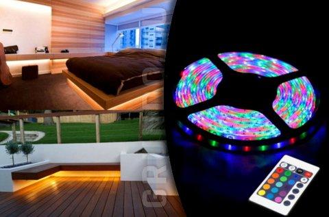 5 m-es vízálló RGB LED szalag szett távirányítóval