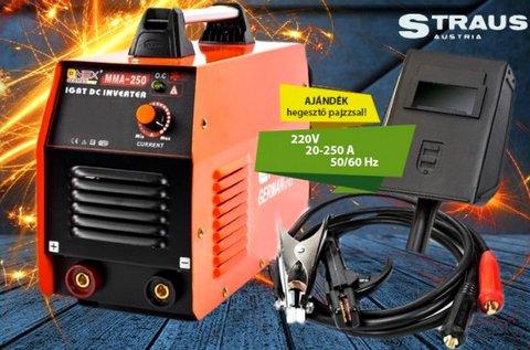 Straus 250A inverteres hegesztőgép fejpajzzsal