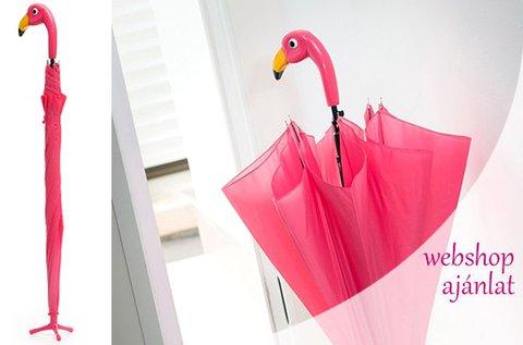 Nagy méretű, pink flamingós esernyő kitámasztóval