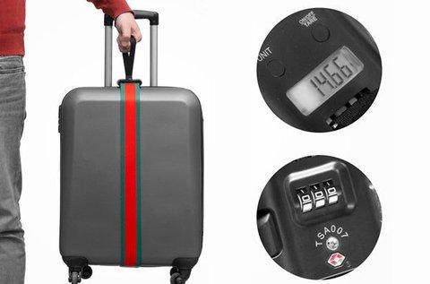 Bőröndmérleg biztonsági pánttal és számzárral