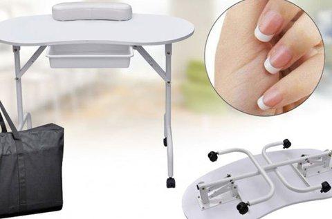Hordozható fehér manikűr asztal táskával