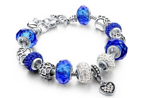 Pandora stílusú kék kristályos karkötő