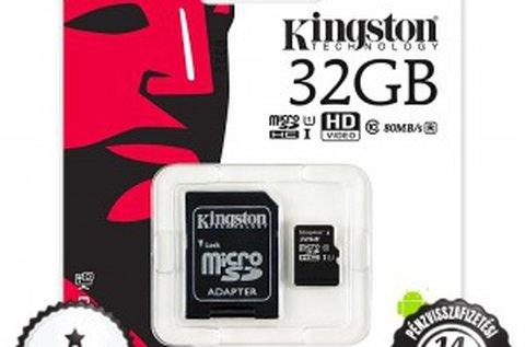 32 GB-os Kingston microSD memóriakártya