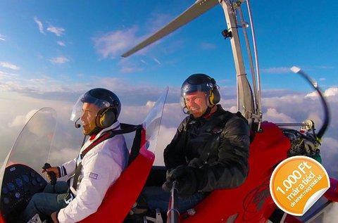 Autogiro helikopteres repülés a Dunakanyar fölött