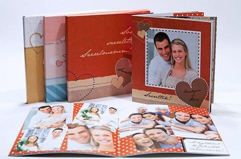 40 oldalas négyzet alakú vagy mini fotókönyv