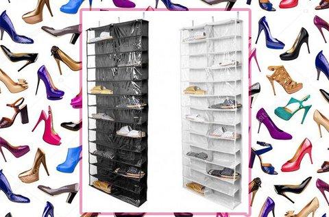 Ajtóra szerelhető 26 rekeszes cipőtároló