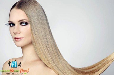 100 tincs, 50 cm hosszú emberi haj és felrakása