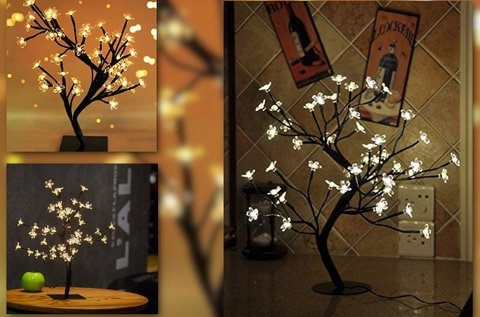 20 LED-es dekoratív asztali sakura fa