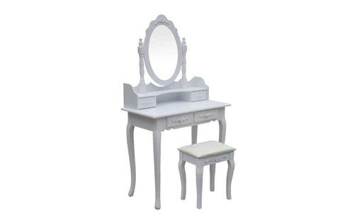 Barokk stílusú, vintage fésülködő asztalka székkel