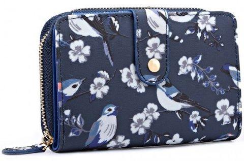 Miss Lulu Flower Bird Print Navy vászon pénztárca