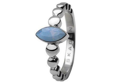 Elegáns Skagen ezüst gyűrű kék kővel nőknek