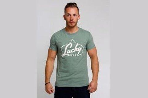 Lucky West férfi rövid ujjú póló zöld színben